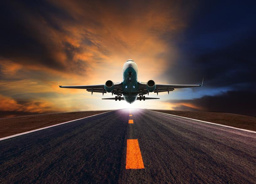 Landebahn mit Flugzeug als Symbol für die Landing-Page